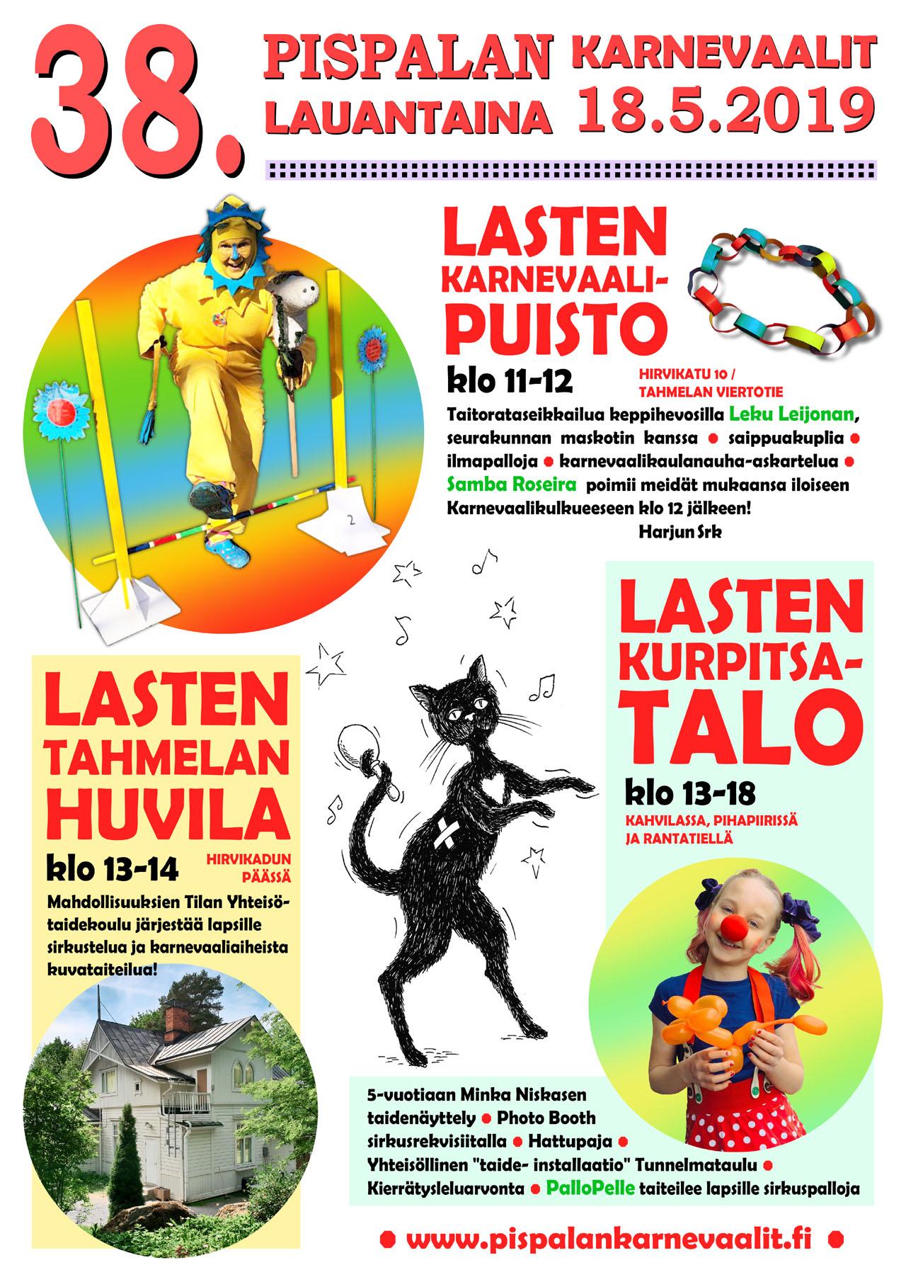 38. Pispalan Karnevaalien Lastentapahtumat lauantaina 18.5.2019